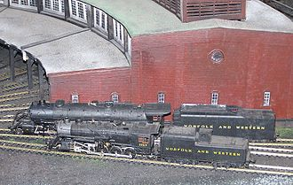 HO scale - HO scale steam locomotives at the N&W RR museum in Crewe, Virginia.