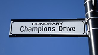 2014 Ohio State Buckeyes football team - Image: N. High St. (Dublin, Ohio) renamed Honorary Champions Drive
