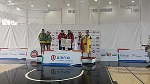 2017 North American Indigenous Games - Medal ceremony for under-19 female doubles badminton medal ceremony