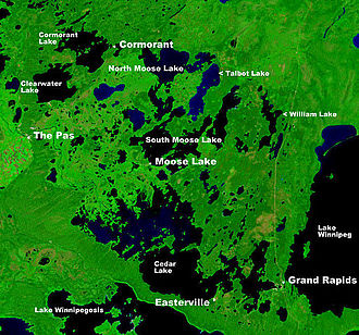 Easterville, Manitoba - NASA image showing the location of Easterville on Cedar Lake