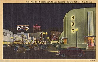 NBC - Radio City West was located at Sunset Boulevard and Vine Street in Los Angeles until it was replaced by a bank in the mid-1960s.