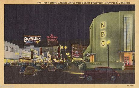 Radio City West was located at Sunset Boulevard and Vine Street in Los Angeles until it was replaced by a bank in the mid-1960s. NBC Hollywood Radio City West.JPG