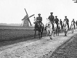 Horses in World War I - Members of the Royal Scots Greys near Brimeux, France in 1918