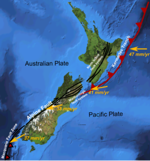 North Island Fault System - Major active fault zones of New Zealand showing variation in displacement vector of Pacific Plate relative to Australian Plate along the boundary