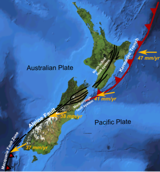 Marlborough Fault System - Major active fault zones of New Zealand showing variation in displacement vector of Pacific Plate relative to Australian Plate along the boundary