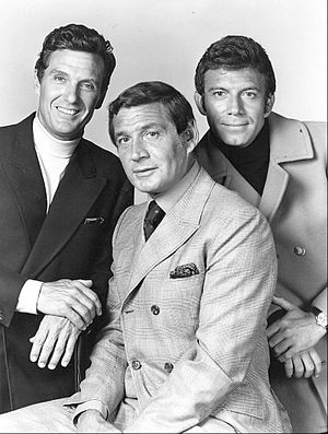 "The Name of the Game (TV series) - The Name Of The Game's three ""headline"" stars, shown here from left to right, were Robert Stack, Gene Barry, and Tony Franciosa."