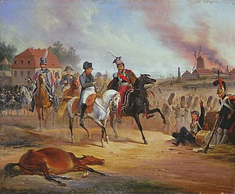 Battle of Leipzig - Napoleon and Poniatowski at Leipzig, painted by January Suchodolski