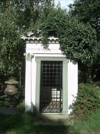 Samuel Oughton - Memorial Plaques to Rev Samuel Oughton and Sarah Oughton, lie inside the Rogers Family Mausoleum at Abney Park Cemetery
