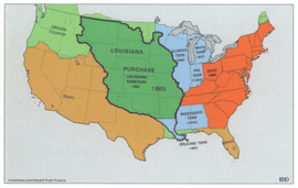 The United States in 1810, following the Louisiana Purchase.