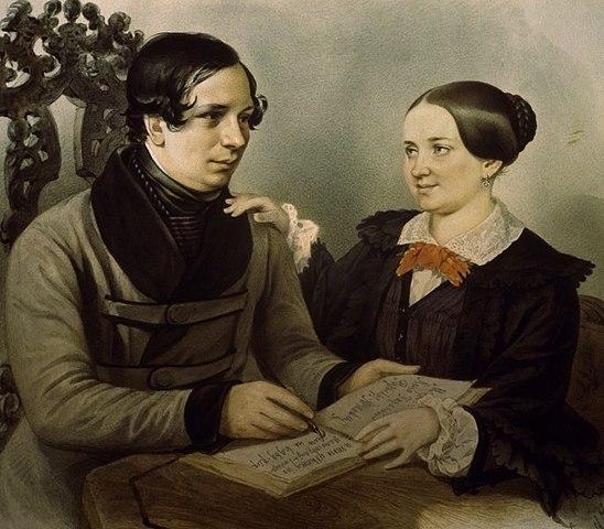 Нестор Кукольник с женой на портрете Р.К.Жуковского (1847)