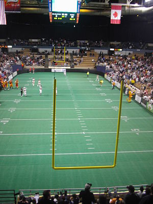 Indoor American football - An example of an indoor football field, lacking rebound nets.