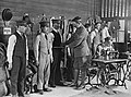 New recruits to the British Army are measured for their uniforms during the First World War. Q30060.jpg