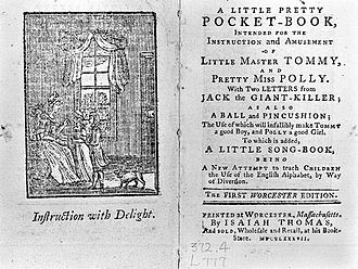 Jack the Giant Killer - The title page from A Little Pretty Pocket-Book (1744) promises the reader two letters from Jack the Giant Killer.
