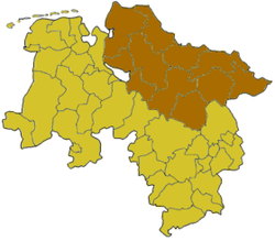 Map of Lower Saxony highlighting the former Regierungsbezirk of Lüneburg