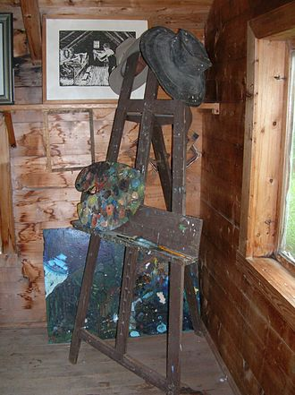 Nikolai Astrup - Interior of Astrup's studio, with easel and his hat