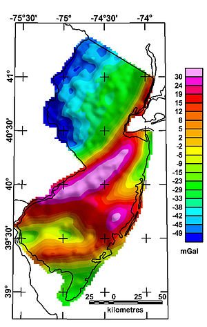 Gravity anomaly - (Bouguer) gravity anomaly map of the state of New Jersey (USGS)
