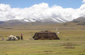 Nomadic tents - A contemporary Tibetan nomadic tent near Namtso lake.
