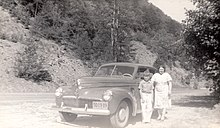 Nora Belle Conklin (1902-1963) and Ralph Herman Freudenberg (1931-1992) and Millard Piatt's car near Port Jervis, New York in August of 1941 (95%quality).jpg