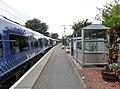North Berwick railway station, East Lothian, Scotland. Platform & shelter looking west.jpg