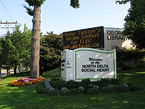 """North Delta, British Columbia - North Delta's """"Social Heart"""" area includes the George Mackie Library opposite Nordel Shopping Centre."""