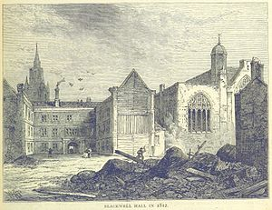Blackwell Hall - Blackwell Hall, partially demolished in 1812. The view is from Basinghall Street. To the right is the Chapel of Mary Magdalene.