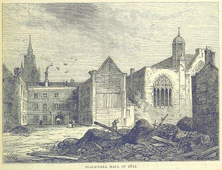 Blackwell Hall, partially demolished in 1812. The view is from Basinghall Street. To the right is the Chapel of Mary Magdalene. ONL (1887) 1.505 - Blackwell Hall in 1812.jpg