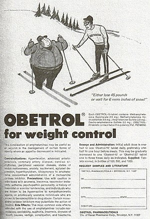 History and culture of substituted amphetamines - Obetrol, a pharmaceutical mixture of amphetamine and methamphetamine salts, was medically indicated and marketed for treating obesity, as illustrated in this advertisement from 1970.