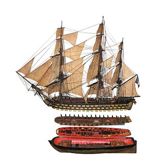 Océan-class ship of the line - Scale model of an Océan-class ship, including the inner disposition of the lower decks, on display at the Swiss Museum of Transport in Lucerne.