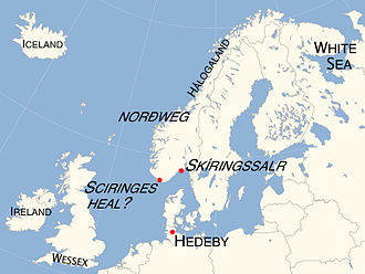 Ohthere of Hålogaland - Map showing the principal places mentioned in Ohthere's account: modern scholarship has commonly identified Ohthere's Sciringes heal with Skíringssalr, a historical site near Larvik, but it may have been located slightly west of Lindesnes, the southern tip of modern Norway. Also it is unclear whether it is Ireland or Iceland that was mentioned in his original account.