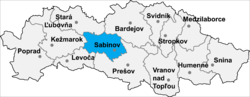 Location of Sabinovas apriņķis
