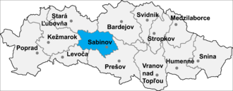 Ostrovany - Location of Sabinov District in the Prešov Region.