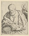 Old man seated and writing in a book, an angel at right looking over his shoulder, after Reni (?) MET DP837921.jpg
