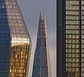 One Blackfriars, The Shard and South Bank Tower - from Waterloo Bridge - 2019-01-04 - Sunset - Close Crop.jpg