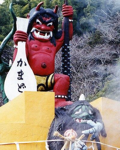 鬼山地獄の赤鬼像/別府温泉(大分県別府市所在)の一角をなす鬼山地獄に所在。