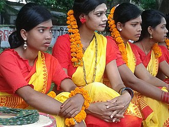 Kurukh people - Kurukh woman dancers in Bangladesh on Indigenous People's Day, 2014