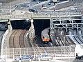 Orange Line train entering South Cove Tunnel, March 2015.JPG