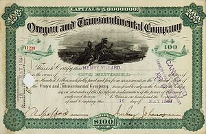 North American Company - Oregon and Transcontinental stock owned by Henry Villard