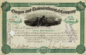 Henry Villard - Oregon and Transcontinental stock owned by Henry Villard