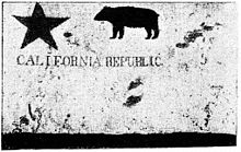 "A tattered flag with a five point star in the upper left, a four-legged animal in the upper middle and ""California Republic"" written in the middle."
