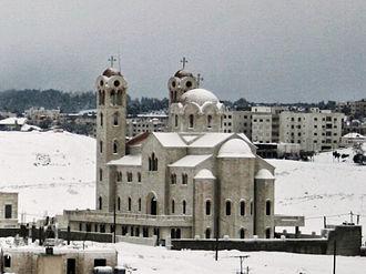 Christianity in Jordan - An Eastern Orthodox Church during a snow storm in Amman, Jordan.
