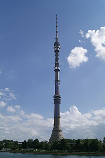 Ostankino Tower television and radio tower in Moscow, Russia