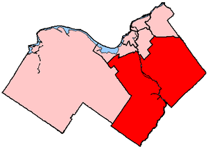 Nepean—Carleton - Nepean—Carleton in relation to other electoral districts in Ottawa