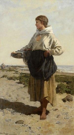 Otto Sinding - Fiskerjente på strand (1883) Fisherwoman on the coast