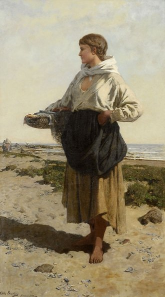Otto Sinding - Fiskerjente på strand (1883) Fisherwoman on the coast