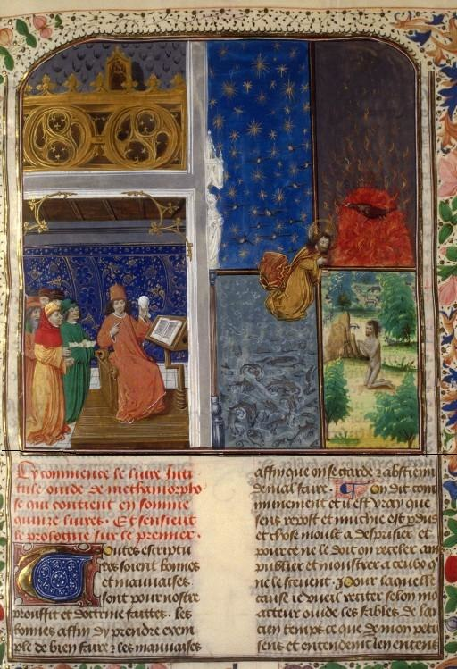 Ovide comparant l'univers à un œuf - (Enluminure pour les « Métamorphoses » d'Ovide, Belgique, Flandre, XVe siècle)