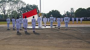 Paskibraka - Paskibraka extending the national flag before it is raised