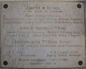 Public School 9 (historic building) - Dedication plaque