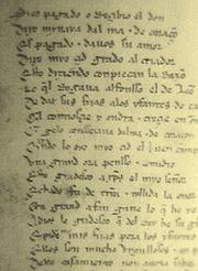 A page of Cantar de Mio Cid, in medieval Castilian.