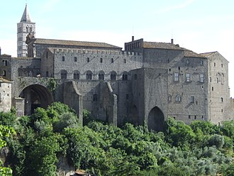 Viterbo - The Palace of the Popes – In the background the bell-tower of the cathedral