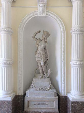 Americas - Statue representing the Americas at Palazzo Ferreria, in Valletta, Malta